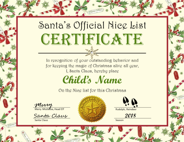 Candy Cane & Holly Certificate