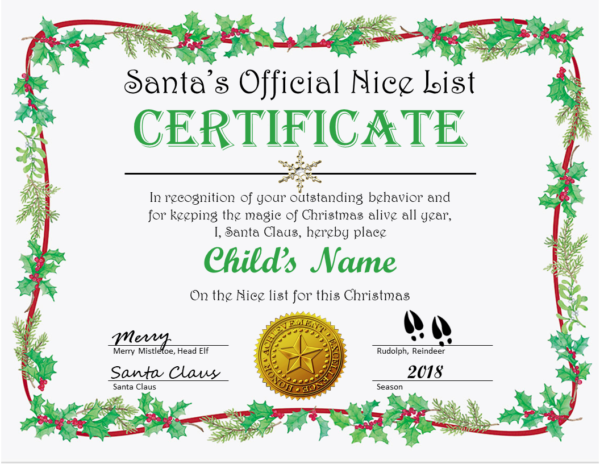 Holly Ribbon Nice List Certificate