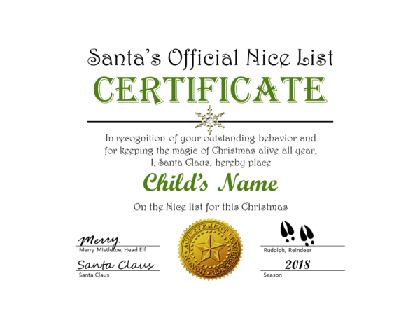 Santa's Official Nice List Certificate