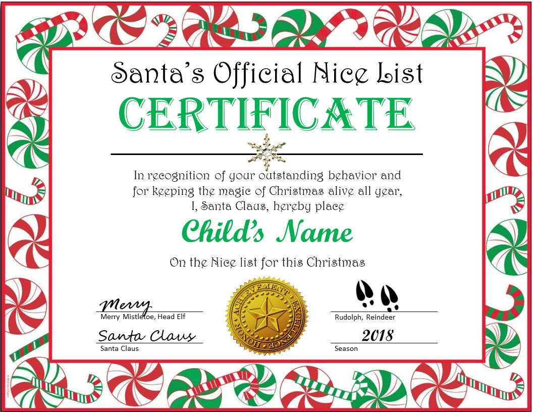 Santas Official Nice List Certificate Holly