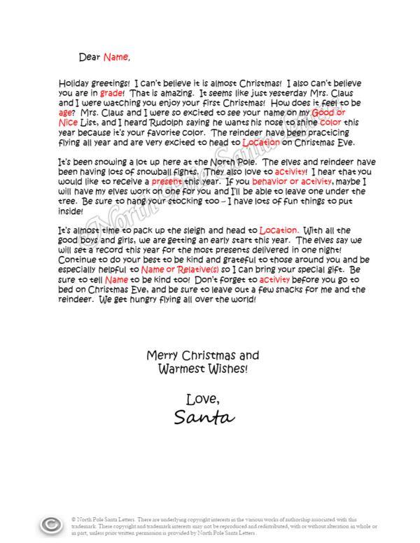 Letter from Santa Being Helpful