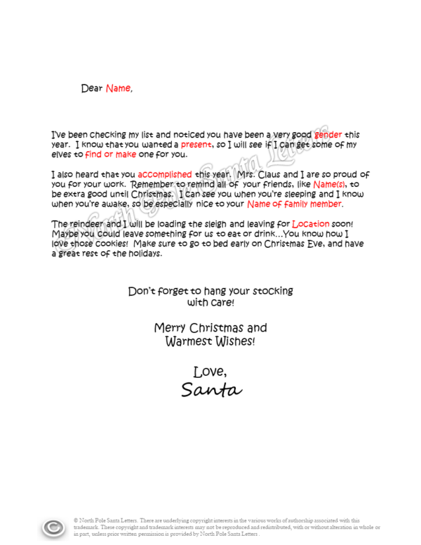 Letter from Santa Checking His List