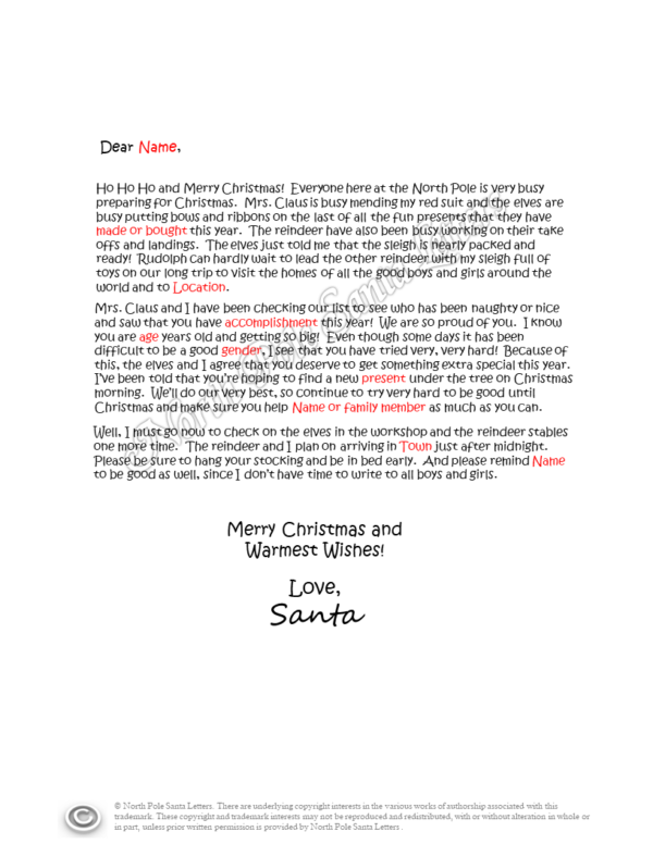 letter from Santa Extra Special Gift