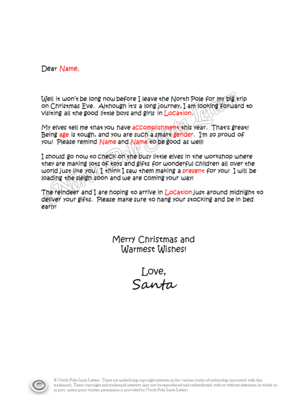 Letter from Santa Heading Your Way