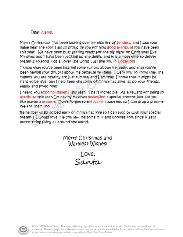 letter from Santa hearing rumors