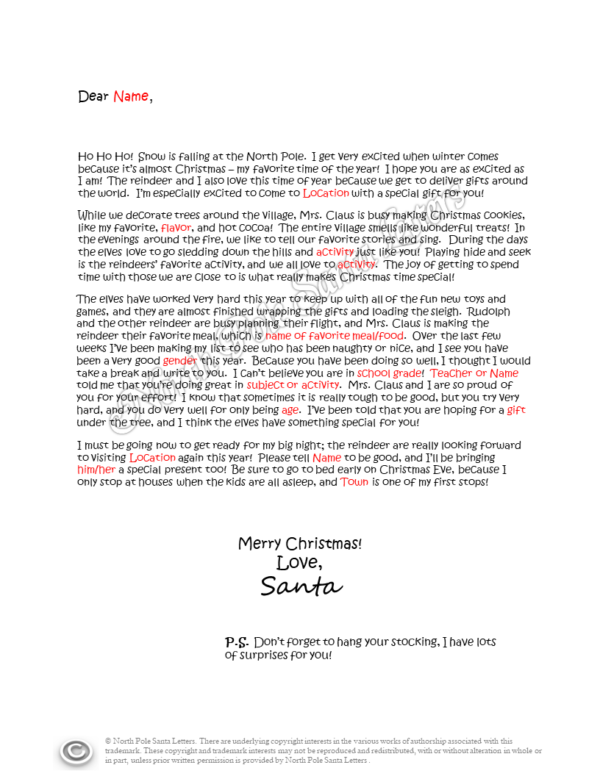 Holiday Activities letter from Santa