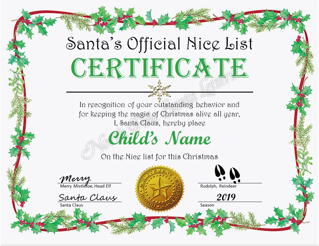 Santa S Official Nice List Certificate North Pole Santa Letters