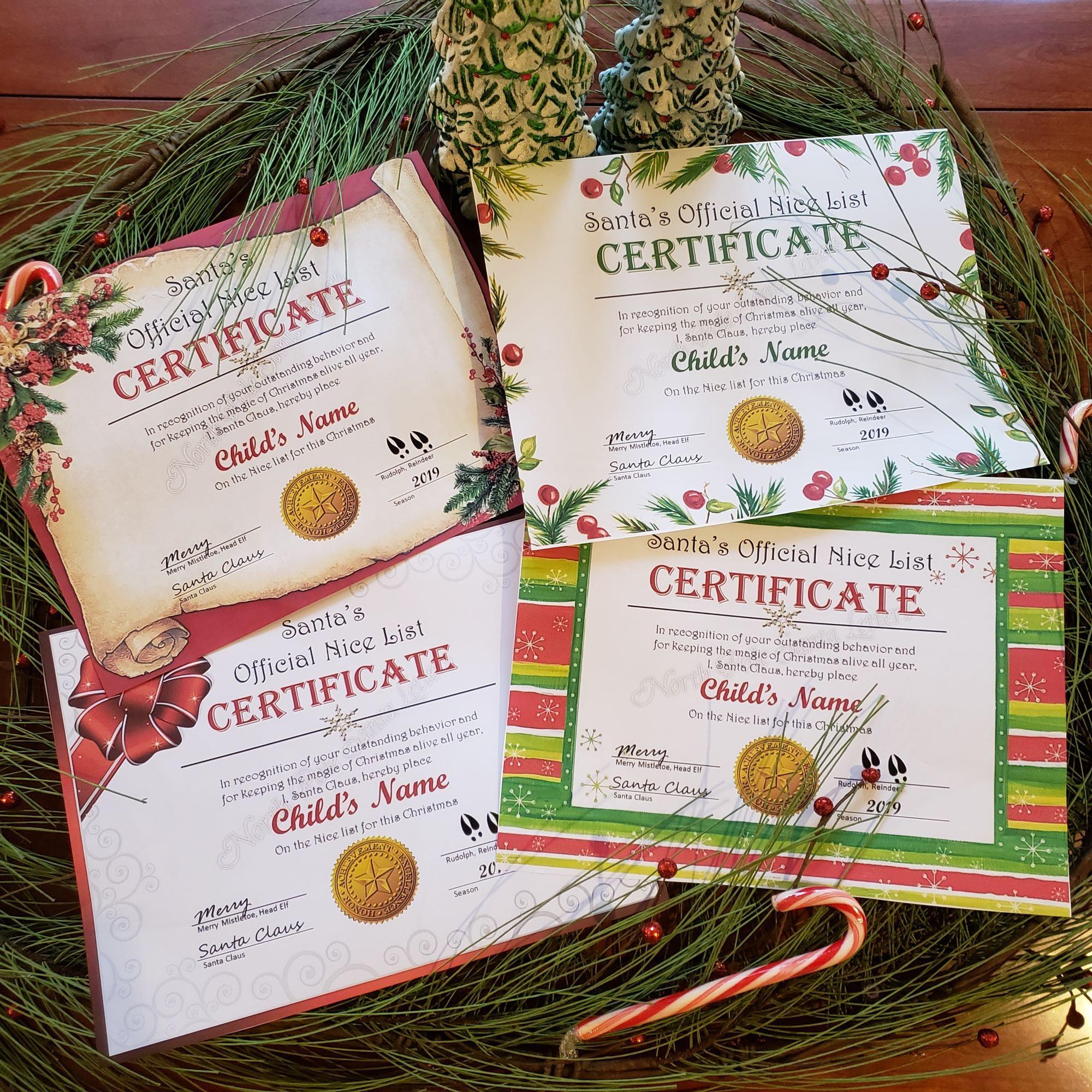 Santa's Nice List Certificates