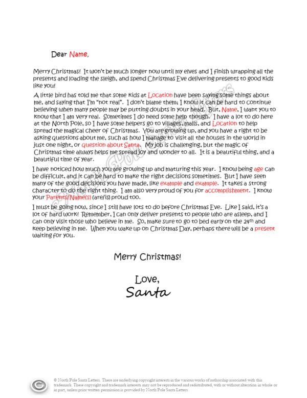 santa's-helpers letter from Santa