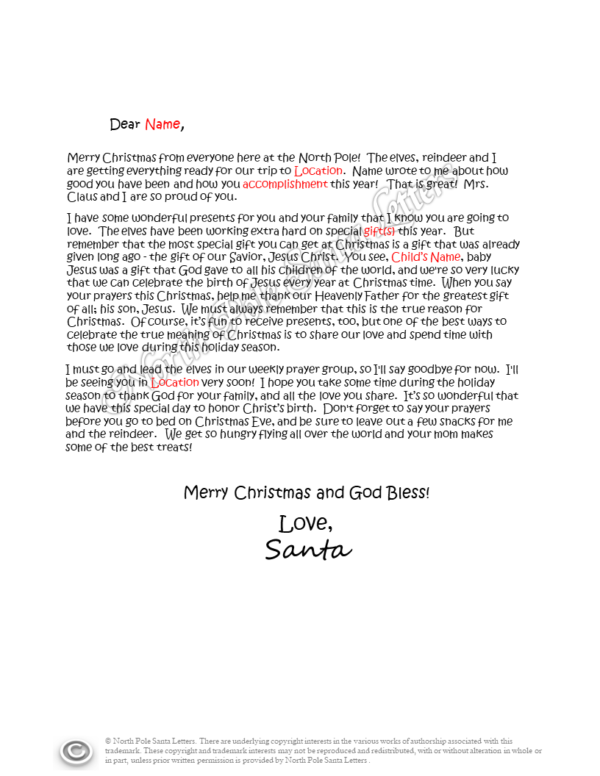 The Gift of Jesus letter from Santa