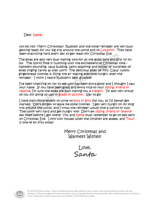 Letter from Santa Claus The North Pole