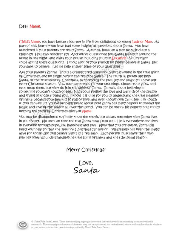 The True Spirit of Christmas Letter from Santa