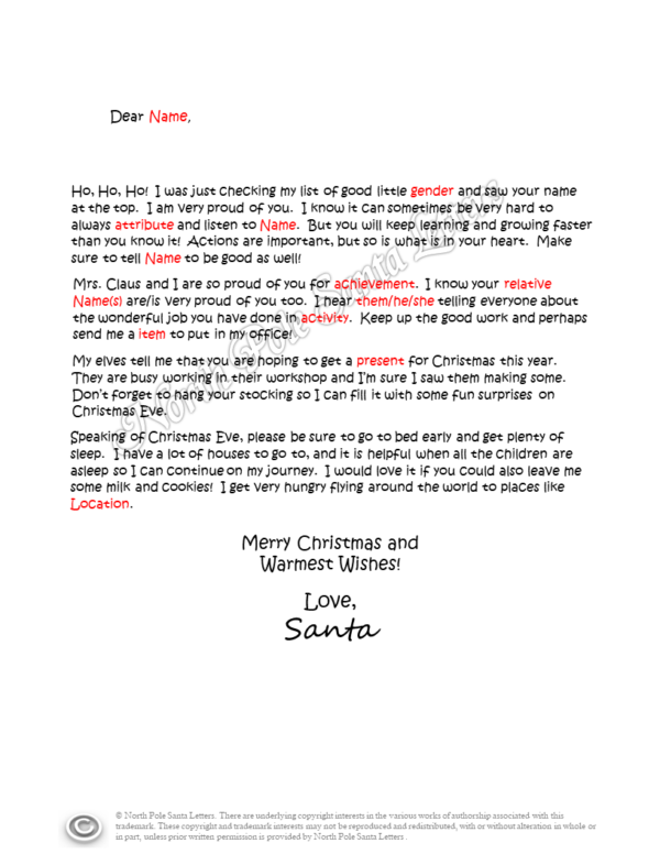 Letter from Santa What's in your Heart