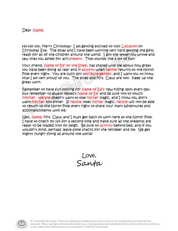Your Letter & Elf Report Letter from Santa