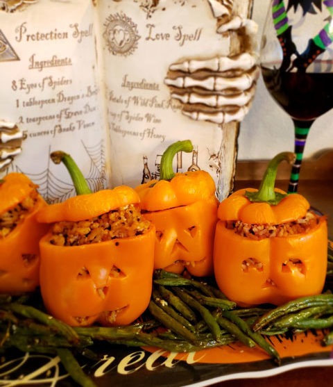 Jack-O-Lantern Stuffed Pepper Pumpkins