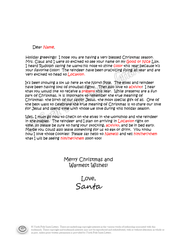 Letter from Santa The Meaning of Christmas